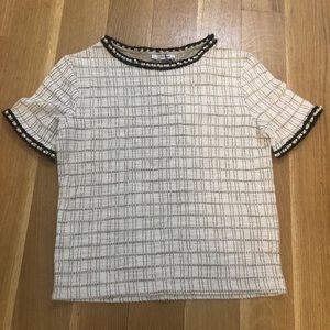 NEW Zara cream embellished short sleeve shirt
